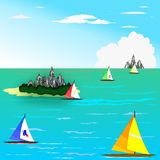 Naves, mar e isla Fotografía de archivo libre de regalías