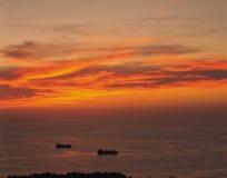 Naves y amanecer Imágenes de archivo libres de regalías