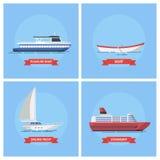 Naves y barcos del infante de marina de los iconos en un estilo plano Imagen de archivo libre de regalías