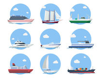 Naves y barcos en estilo plano Imágenes de archivo libres de regalías