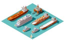 Naves y plataforma petrolera isométricas del vector