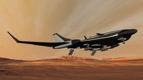 Navette de Phobos dans l'approche d'atterrissage sur Mars Photo libre de droits