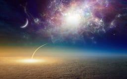 Navette spatiale décollant, mission à l'espace extra-atmosphérique profond illustration stock