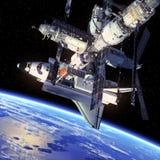 Navette spatiale et station spatiale. illustration libre de droits