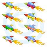 Navettes spatiales de dessin animé Images stock