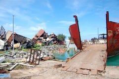 Navi abbandonate a porto Fotografie Stock Libere da Diritti