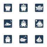 Navi, barche, icone di nave da carico Immagine Stock Libera da Diritti