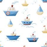 Navi, barche, vapori e yacht del fumetto con le onde ed i gabbiani illustrazione di stock