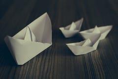 Navi bianche di origami Fotografie Stock