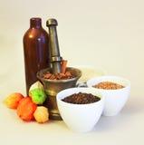 Navi ceramiche e d'ottone con i cereali, le spezie ed i frutti Immagine Stock Libera da Diritti