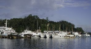 Navi che riposano al porto o al porto Fotografia Stock