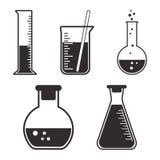 Navi chimiche dell'insieme in bianco e nero Vettore illustrazione di stock