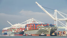 Navi da carico che caricano al porto di Oakland Immagine Stock Libera da Diritti