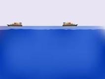 Navi da carico sull'oceano blu Fotografia Stock Libera da Diritti