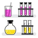 Navi dell'insieme variopinto e boccette chimiche con il rosa, liquido giallo Vettore illustrazione vettoriale