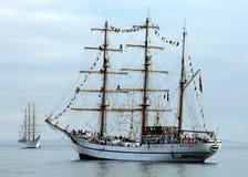 Navi della vela nel porto di New York durante la settimana della flotta di NYC Immagine Stock Libera da Diritti
