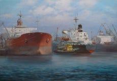Navi di autocisterna, pittura fatta a mano classica Fotografie Stock