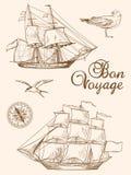 Navi di navigazione d'annata illustrazione di stock