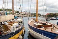Navi di navigazione tradizionali attraccate in Bristol Docks, Bristol, Regno Unito fotografia stock libera da diritti
