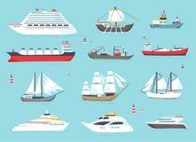 Navi in mare, barche di spedizione, icone di vettore di trasporto marittimo messe Immagini Stock