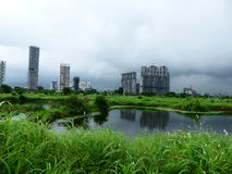 Navi Mumbai Skyline. This photo is taken during monsoon season and it shows Navi Mumbai Skyline. This image shows the natural beauty of mangroves Royalty Free Stock Images