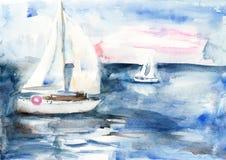 Navi nel mare Immagine Stock