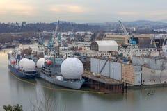 Navi pacifiche del radar del collettore e dell'inseguitore degli ss a Portland Oregon Fotografia Stock Libera da Diritti