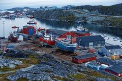 Navi sul cantiere navale in Nuuk Fotografia Stock
