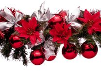 Navidad_a19d9981. Christmas decoration with balls and red flowers royalty free stock photography