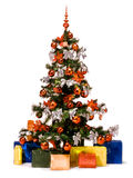 Navidad_a21d9714. Christmas tree with decorations, lights and gifts stock image