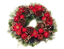 Navidad_a23d9984. Christmas wreath with green leaves royalty free stock photos