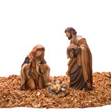 Navidad_a27d9719. Nativity scene, with ceramic figures photographed on a white background stock image
