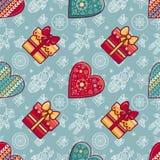 Navidad Caja de regalo y corazón modelado Modelo inconsútil Imágenes de archivo libres de regalías