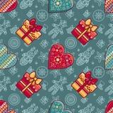 Navidad Caja de regalo y corazón modelado Modelo inconsútil Foto de archivo