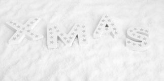Navidad, cartas de madera blancas con las estrellas de plata Imagen de archivo