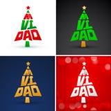 Navidad, Christmas Spanish text Vector Pine Lettering Shape Collection Set stock illustration