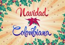 Navidad Colombiana - texte colombien d'Espagnol de Noël Images stock