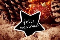 Navidad de Feliz, Joyeux Noël dans l'Espagnol Photo libre de droits