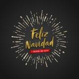 Navidad de Feliz - saludos de la Navidad en español Rayos de la caligrafía y del resplandor solar del cepillo del oro del brillo  libre illustration