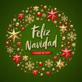 Navidad de Feliz - saludos de la Navidad en español Saludo del día de fiesta de la caligrafía del cepillo y decoración de la Navi stock de ilustración