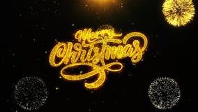 Navidad de la Feliz Navidad desea la tarjeta de felicitaciones, invitación, fuego artificial de la celebración colocado
