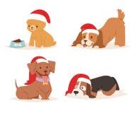 Navidad de la historieta del vector del perro de la Navidad diversa del perrito de los caracteres del ejemplo del hogar del perri Imagen de archivo