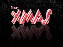 Navidad de Navidad del bastón de caramelo Feliz con la reflexión Imagen de archivo libre de regalías