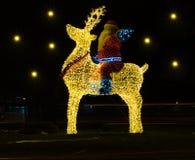 Navidad de Santa Claus e instalación de la luz del Año Nuevo Imágenes de archivo libres de regalías