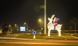 Navidad de Santa Claus e instalación de la luz del Año Nuevo Fotografía de archivo libre de regalías