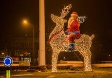 Navidad de Santa Claus e instalación de la luz del Año Nuevo Fotografía de archivo