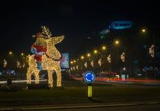 Navidad de Santa Claus e instalación de la luz del Año Nuevo Foto de archivo