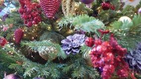 Navidad Decoraciones brillantes en el árbol de navidad Primer y hacia fuera-de-foco almacen de video