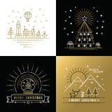 Navidad determinada de la ciudad de la etiqueta del oro del esquema de la Feliz Navidad Fotos de archivo