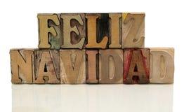 Navidad di Feliz nel tipo di legno dello scritto tipografico Fotografia Stock Libera da Diritti